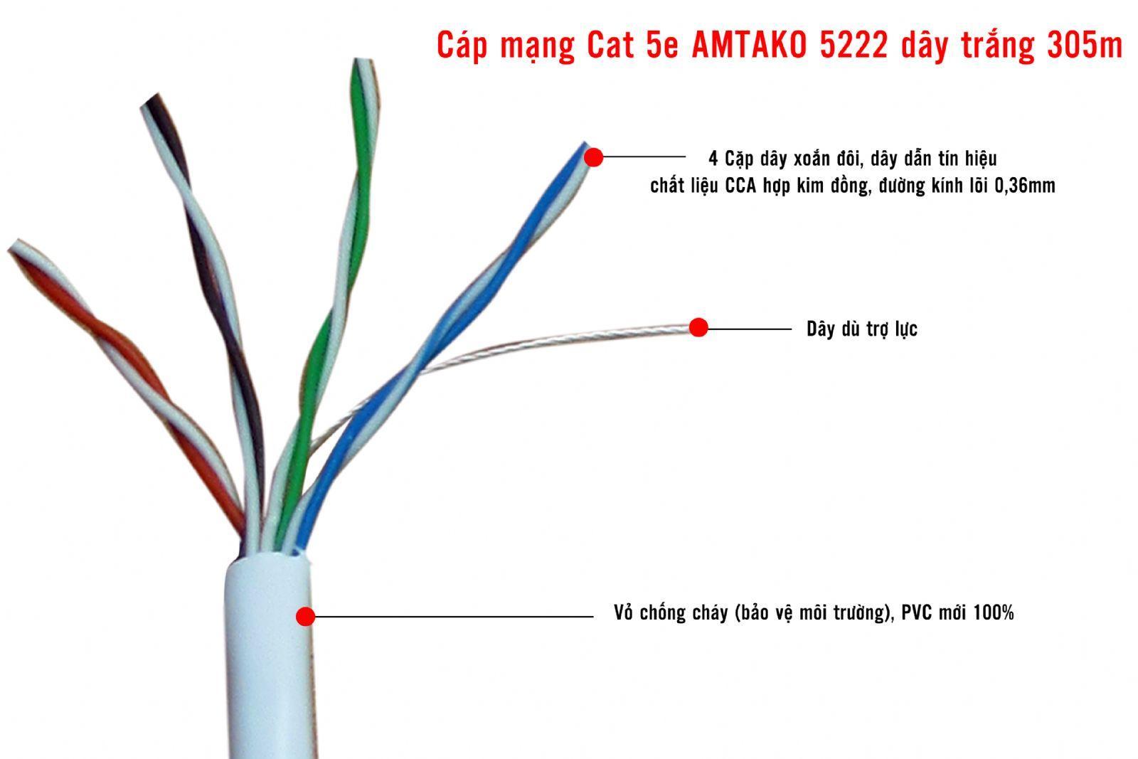 Cáp mạng UTP Cat 5e AMTAKO Chính hãng