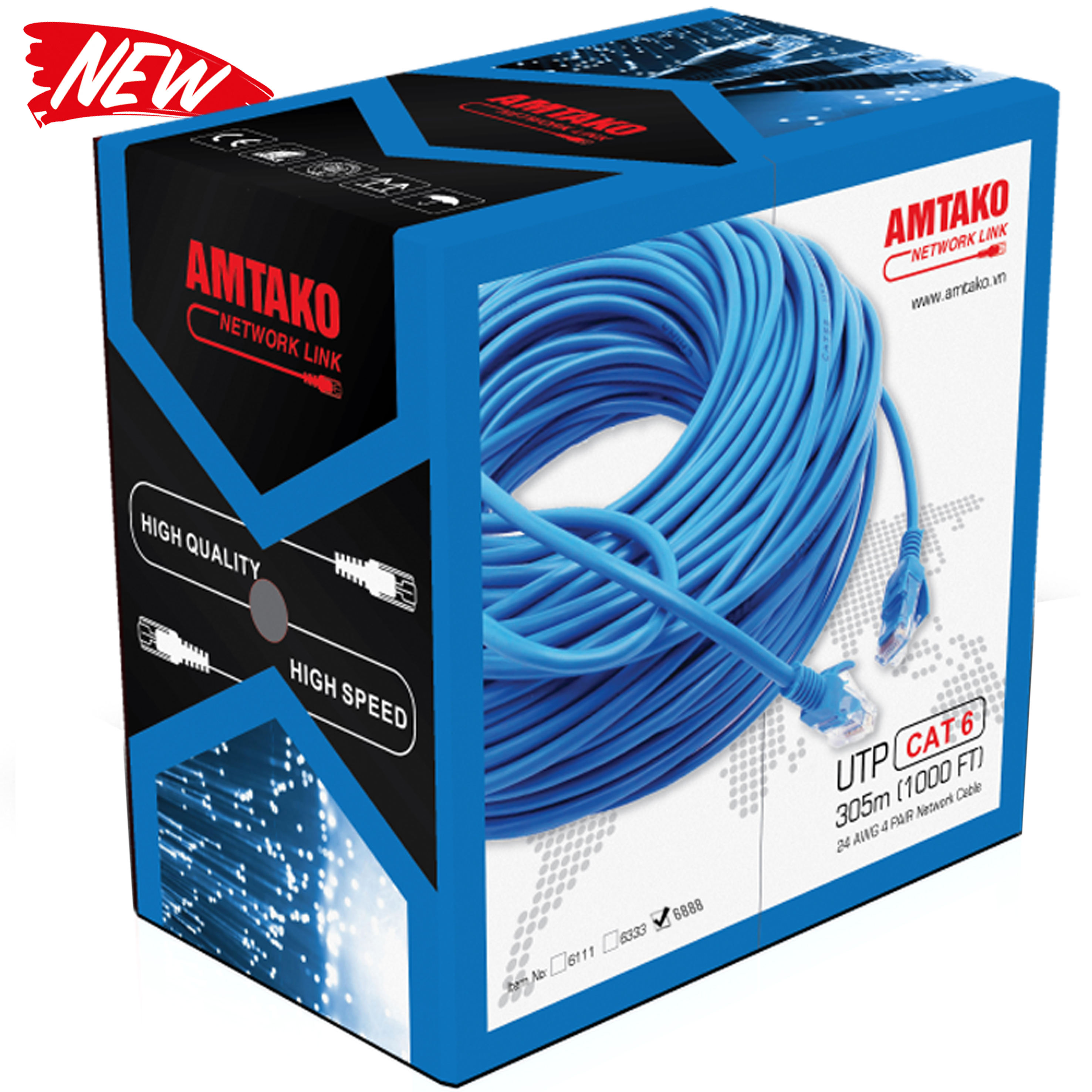 Cáp mạng UTP Cat 6e AMTAKO dây xanh 305m/1 thùng